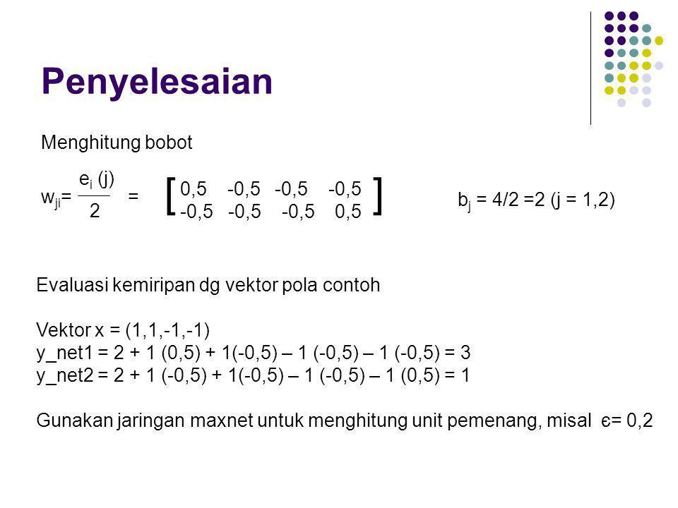 [ ] Penyelesaian Menghitung bobot wji= = ei (j) 0,5 -0,5 -0,5 -0,5